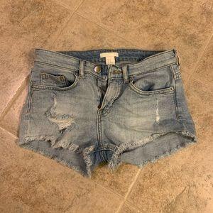 H&M Destroyed Light Wash Denim Shorts
